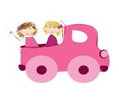 Girls and truck. Illustration two cute girls and pink truck Royalty Free Stock Image