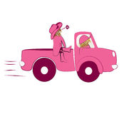 Girls on truck. Illustration two cute girls on pink truck Royalty Free Stock Photo