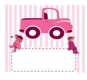 Girls and truck. Illustration two cute girls and pink truck Stock Images