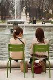 Girls in Tuileries garden in Paris stock images