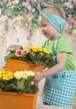 Girls twins of three years care for flowers, Stock Photos