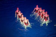 The girls in two rows in pool at Show Olympic champions Royalty Free Stock Photos