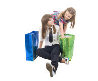 Girls With Two Shoping Bags. Isolated On White background royalty free stock image