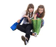 Girls With Two Shoping Bags. Isolated On White background royalty free stock photo