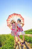 Girls with a umbrella Royalty Free Stock Photo