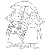 Girls and umbrella-coloring. Two girls carry the umbrella and flowers Royalty Free Stock Images