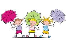 Girls and umbrella. Three girls with umbrellas. Cavorting children Stock Photography