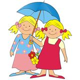 Girls and umbrella Royalty Free Stock Photos
