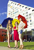 Girls with umbrellas Royalty Free Stock Photos