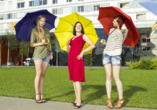 Girls with umbrellas Royalty Free Stock Photo