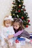 Girls under Christmas tree stock photography