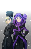 Girls under snow. Two strange ladies, one serious blonde, other is purple haired elf, in warm clothes under snowfall Stock Image