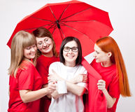 Girls under the umbrella Stock Photography