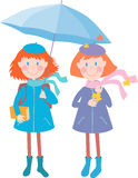 Girls under umbrella Royalty Free Stock Photography