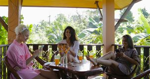 Girls Using Cell Smart Phones Sit At Table Talking On Terrace In Tropical Forest, Women Group Chatting Online In Morning. Slow Motion 60 stock footage