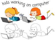 Girls using computer on white background vector illustration