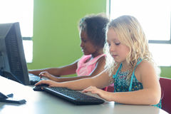 Girls using computers Royalty Free Stock Photo