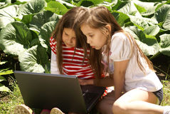 Girls using laptop Royalty Free Stock Images