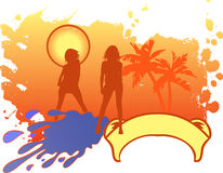 Girls Vacation Logo. Stock Photo
