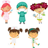 Girls in Various Designations Stock Photography