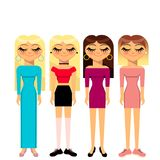 4 girls royalty free illustration