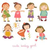 Girls vector set. Vector illustration. girls, seven postures and emotions Royalty Free Stock Photos