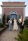 Girls in front of a Vitorian mansion Royalty Free Stock Photo
