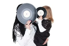 Girls with vinyl Royalty Free Stock Images