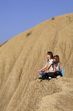 Girls on volcanoes Stock Images