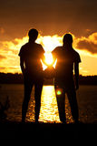 Girls Volleyball Sunset Silhouette Pose Royalty Free Stock Photography