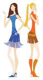 Girls waiting. Two girls waiting Vector Illustration