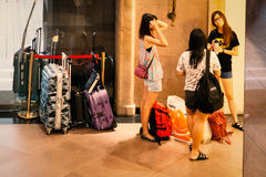 Girls waiting at the lobby of the Hotel Royalty Free Stock Images