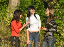 Girls on walk stock images