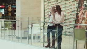 Girls walk in mall, entertainment center. Timelapse, Girlfriends talk in mall entertainment center stock footage