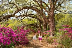 Girls walking in the garden on weekend trip. Royalty Free Stock Photo