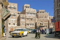 Girls walking in sanaa city old town in yemen Royalty Free Stock Photo