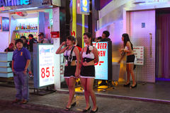 Girls on Walking Street in Pattaya Royalty Free Stock Photography