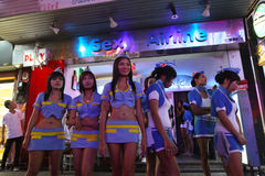 Girls on Walking Street in Pattaya Royalty Free Stock Images