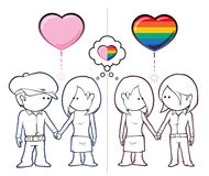 Girls Want Boys & Girls. Iconic illustration of two couples, one straight and one lesbian, holding hands. Both couples share the same female character Stock Photography