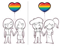 Girls Want Girls. Iconic illustration of two female couples holding hands Stock Photo
