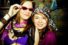 Girls want to have fun. Two girls having fun , personal editing ,green toning Royalty Free Stock Photos