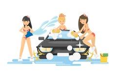 Girls wash the car. Royalty Free Stock Photo