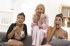 Girls watching thriller on tv Stock Images
