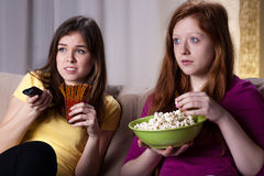 Girls watchiong horror movie Royalty Free Stock Images