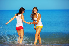 Girls in water Stock Image