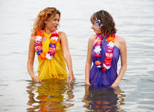 Girls in the water Royalty Free Stock Photography