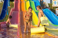 Girls on the water slide Stock Photography