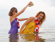 Girls in the water Royalty Free Stock Photo