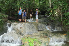 Girls on waterfall in Manokwari Stock Images
