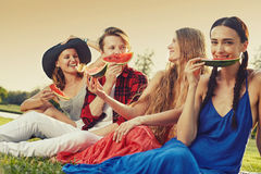 Girls with watermelon. Picnic party friendly young people on the grass in the park in personal interaction Stock Photos